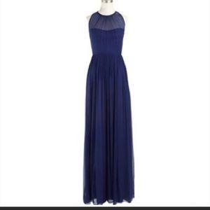 JCrew Megan Long Dress Silk Chiffon Newport Navy
